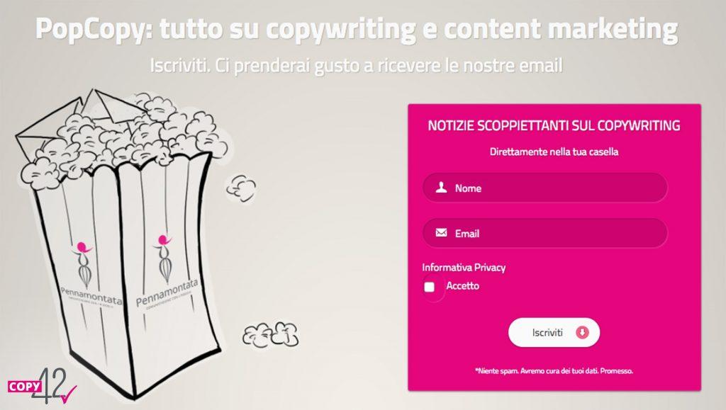 Esempio Pop Copy form iscrizione newsletter