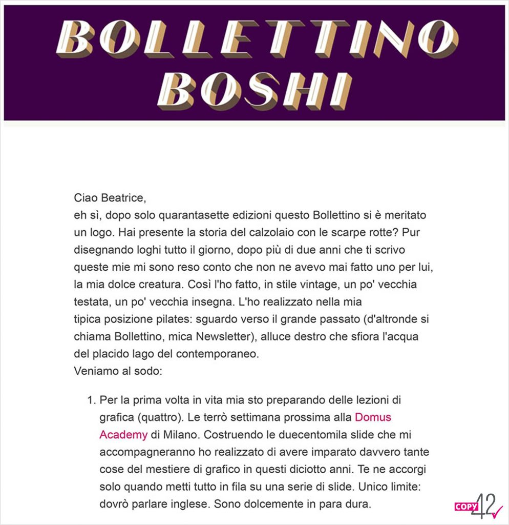 Esempio body copy Bollettino Boshi newsletter