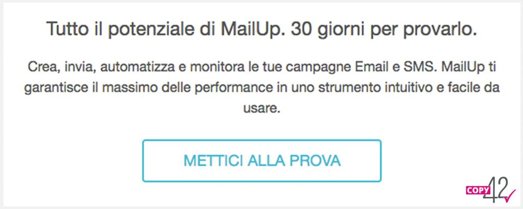 Esempio call to action e footer newsletter